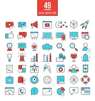 Jeu d'icônes de ligne de marketing des médias sociaux