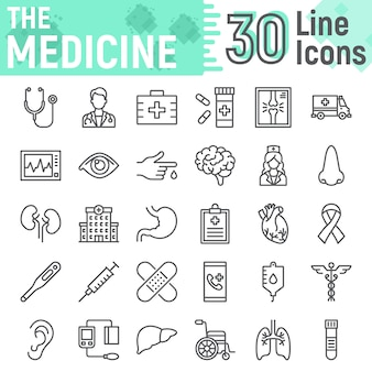 Jeu d'icônes de ligne de médecine, collection de symboles de l'hôpital