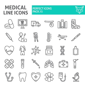 Jeu d'icônes de ligne médicale, collection de l'hôpital