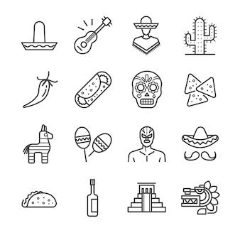 Jeu d'icônes de ligne mexicaine.