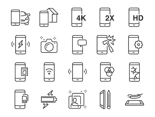 Jeu d'icônes de ligne mobile.