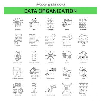 Jeu d'icônes de la ligne d'organisation de données - 25 styles de contour en pointillés
