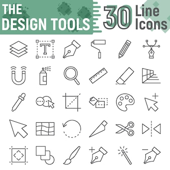 Jeu d'icônes de ligne d'outils de conception, collection de signes de conception graphique