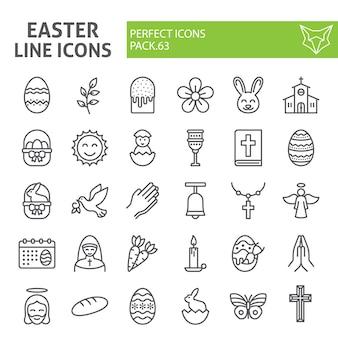 Jeu d'icônes de ligne de pâques, collection de vacances de printemps