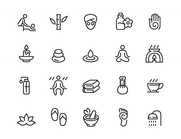 Jeu d'icônes de ligne relative au spa minimal