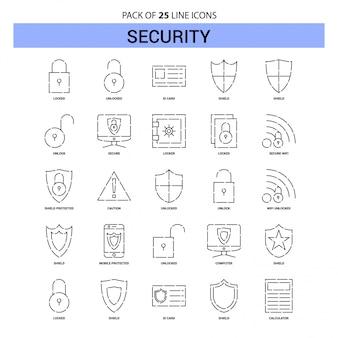 Jeu d'icônes de la ligne de sécurité - 25 styles de contour en pointillés