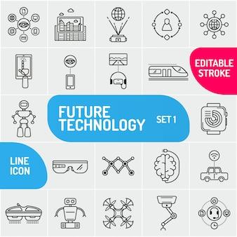 Jeu d'icônes de ligne de technologie. icône de robot