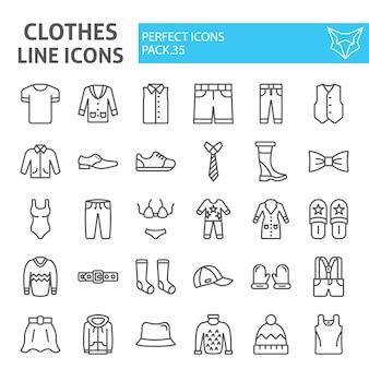 Jeu d'icônes de ligne de vêtements, collection de vêtements