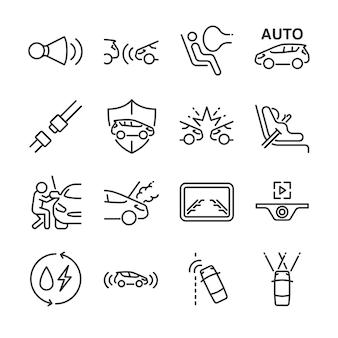 Jeu d'icônes de ligne de voiture.