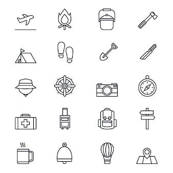 Jeu d'icônes de ligne de voyage