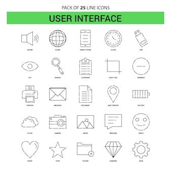 Jeu d'icônes de lignes de l'interface utilisateur - 25 styles de contour en pointillés