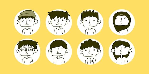Jeu d'icônes de lineart d'avatars