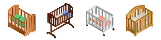 Jeu d'icônes de lit d'enfant, style isométrique
