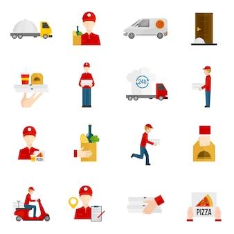 Jeu d'icônes de livraison de nourriture