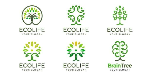 Jeu d'icônes de logo d'arbre. arbre abstrait combiné personnes modèle de conception de logo de concept.