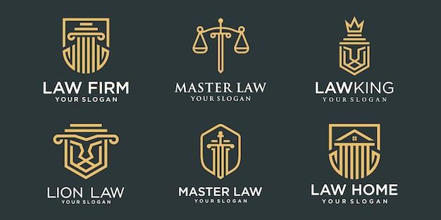 Jeu d'icônes de logo de cabinet d'avocats. pilier créatif combiné concept logo design template.
