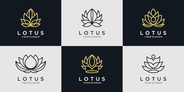 Jeu d'icônes de logo de fleur de lotus