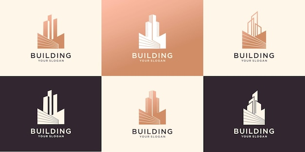 Jeu d'icônes de logo immobilier de construction