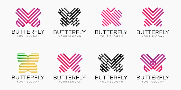 Jeu d'icônes de logo de papillon. conception de logotype de ligne de luxe. logotype universel de symbole de papillon premium.