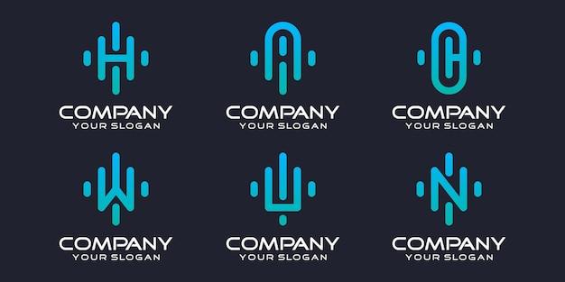 Jeu d'icônes de logo simple lettre hacwn élément combiné modèle de conception de logo numérique ou de données