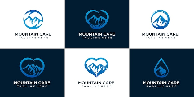 Jeu d'icônes de logo de soins de montagne. avec une combinaison de mains et de montagne. logo vecteur premium