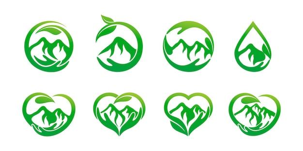 Jeu d'icônes de logo de soins de montagne naturels. avec une combinaison de mains et de montagne. logo vecteur premium