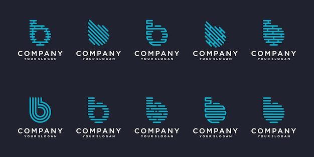 Jeu d'icônes de logotype simple, élément combiné de la lettre b numérique ou données. modèle de conception de logo