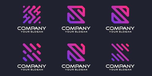 Jeu d'icônes de logotype simple, élément combiné de la lettre s numérique ou données. modèle de conception de logo