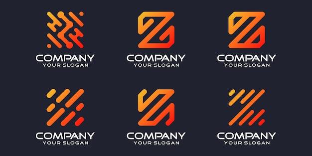 Jeu d'icônes de logotype simple, élément combiné de la lettre z numérique ou données. modèle de conception de logo