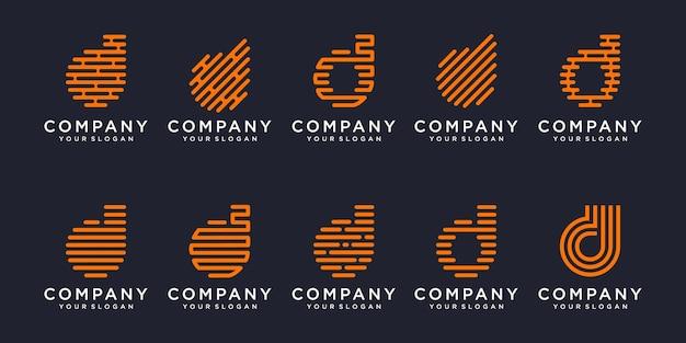 Jeu d'icônes de logotype simple, lettre d élément combiné numérique ou données. modèle de conception de logo