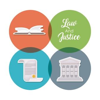 Jeu d'icônes de la loi de la justice sur les cercles colorés et fond blanc
