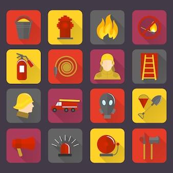 Jeu d'icônes de lutte contre les incendies
