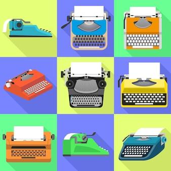 Jeu d'icônes de machine à écrire. ensemble plat de vecteur de machine à écrire