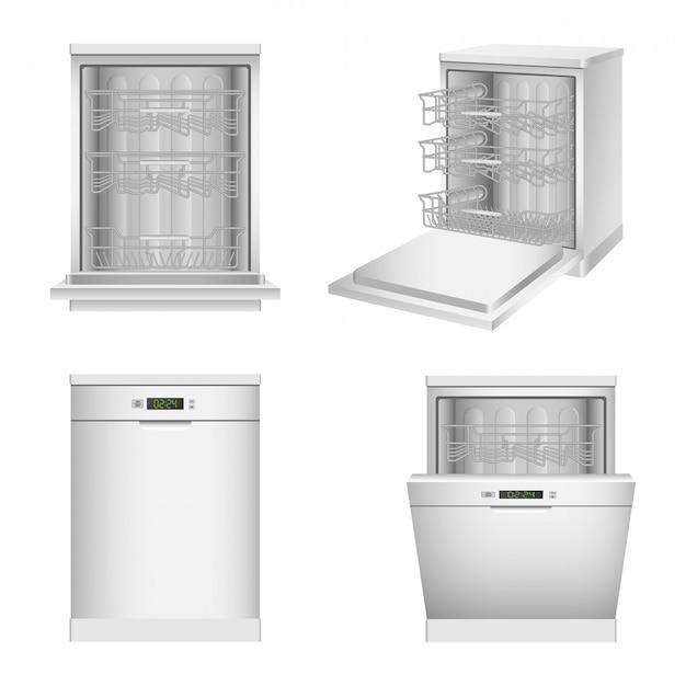 Jeu d'icônes de machine à laver la vaisselle, style réaliste