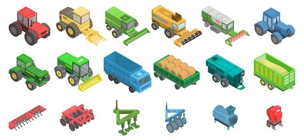 Jeu d'icônes de machines agricoles