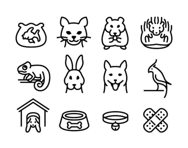 Jeu d'icônes de magasin d'animaux