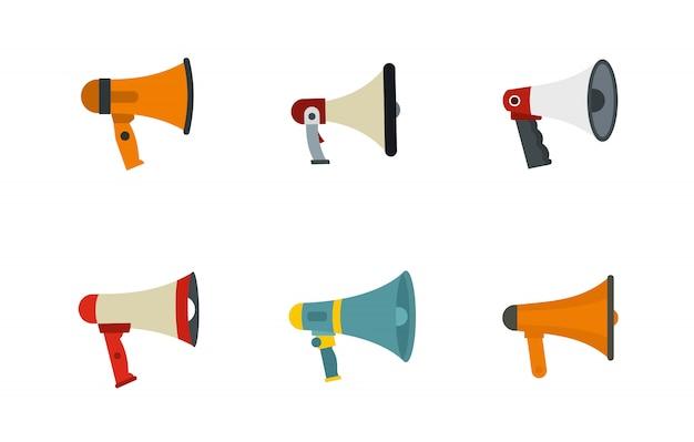 Jeu d'icônes main haut-parleur. ensemble plat de collection d'icônes main haut-parleur vector isolé
