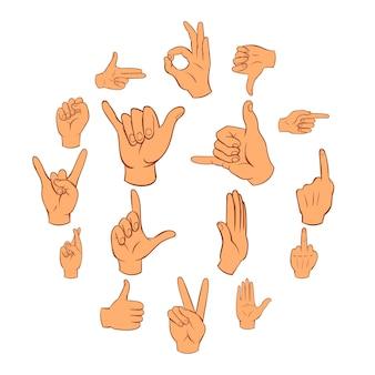 Jeu d'icônes de la main
