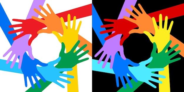 Jeu d'icônes de mains couleurs de l'arc-en-ciel logo des bénévoles emblème uni insigne de solidarité vecteur