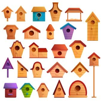 Jeu d'icônes de maison d'oiseau, style cartoon
