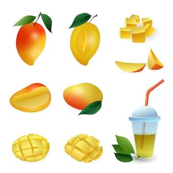 Jeu d'icônes de mangue, style cartoon
