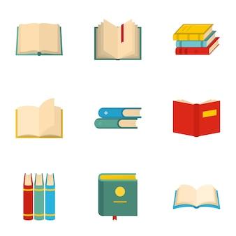 Jeu d'icônes de manuels scolaires, style cartoon