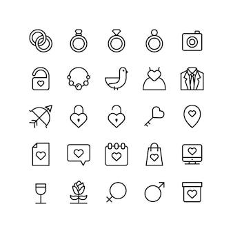 Jeu d'icônes de mariage