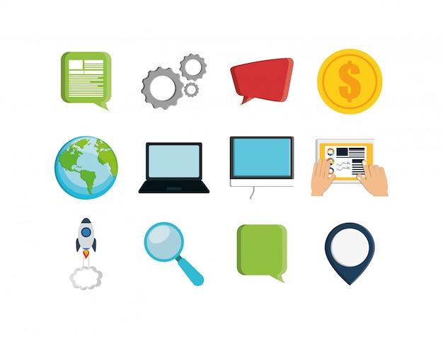 Jeu d'icônes de marketing numérique isolé