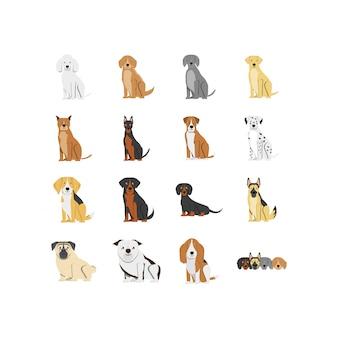 Jeu d'icônes de mascottes de chiens isolés