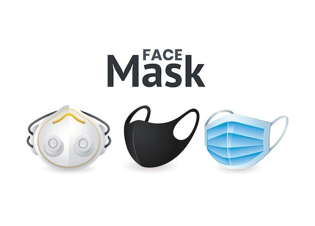 Jeu d'icônes de masques faciaux du thème du virus covid 19