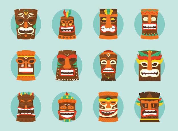 Jeu d'icônes de masques tiki hawaïens