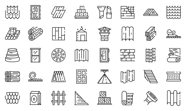 Jeu d'icônes de matériaux de construction, style de contour