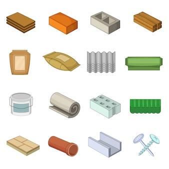 Jeu d'icônes de matériaux de construction