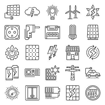 Jeu d'icônes de matériel énergétique. ensemble de contour des icônes vectorielles de matériel énergie